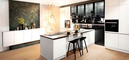 A picture of a showroom kitchen